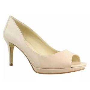 Nine West Open Toe Heels Size 8.5 nude